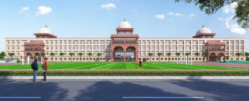 School Building- 3D Front View